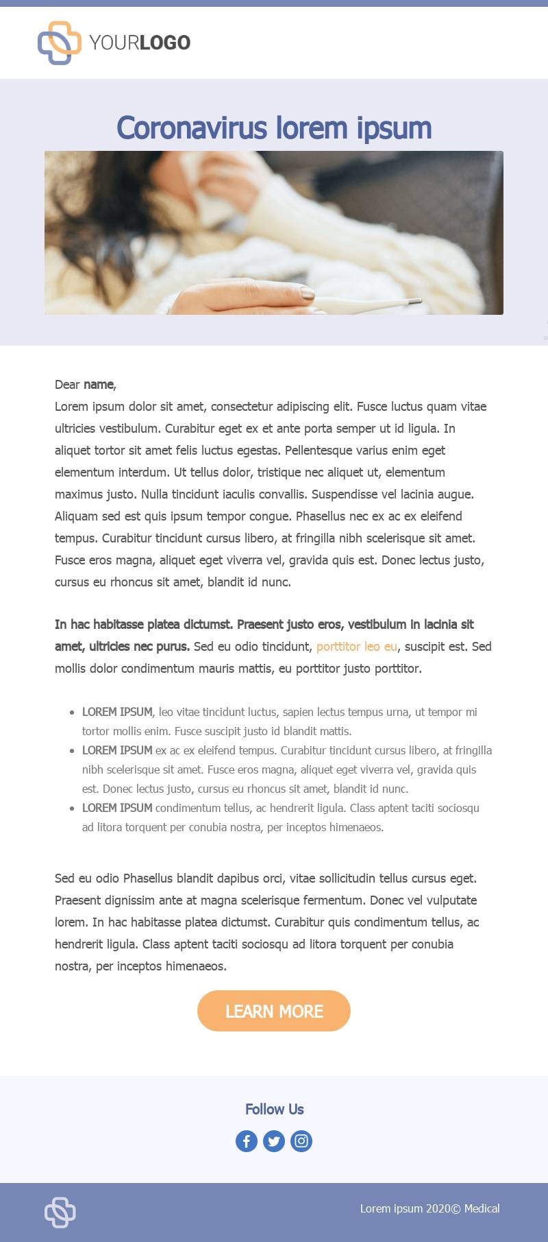 Emergency announcement email template