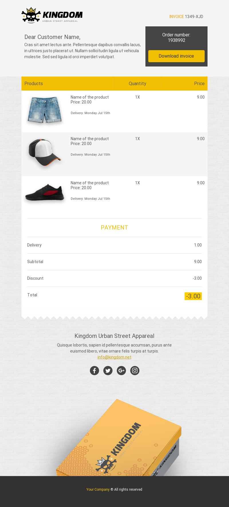 Product Invoice Transactional Email Template For