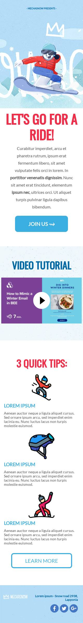 Snowboard email template