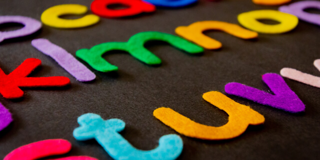 Felt alphabet letters in many colors