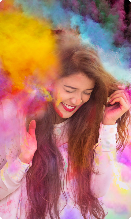 Girl with many colors