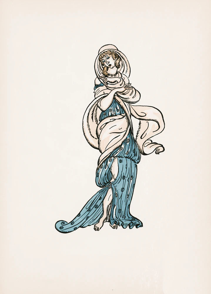 An illustration of a woman in a blue dress