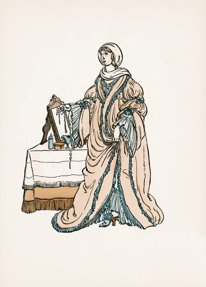 An illustration of a woman in a beige dress