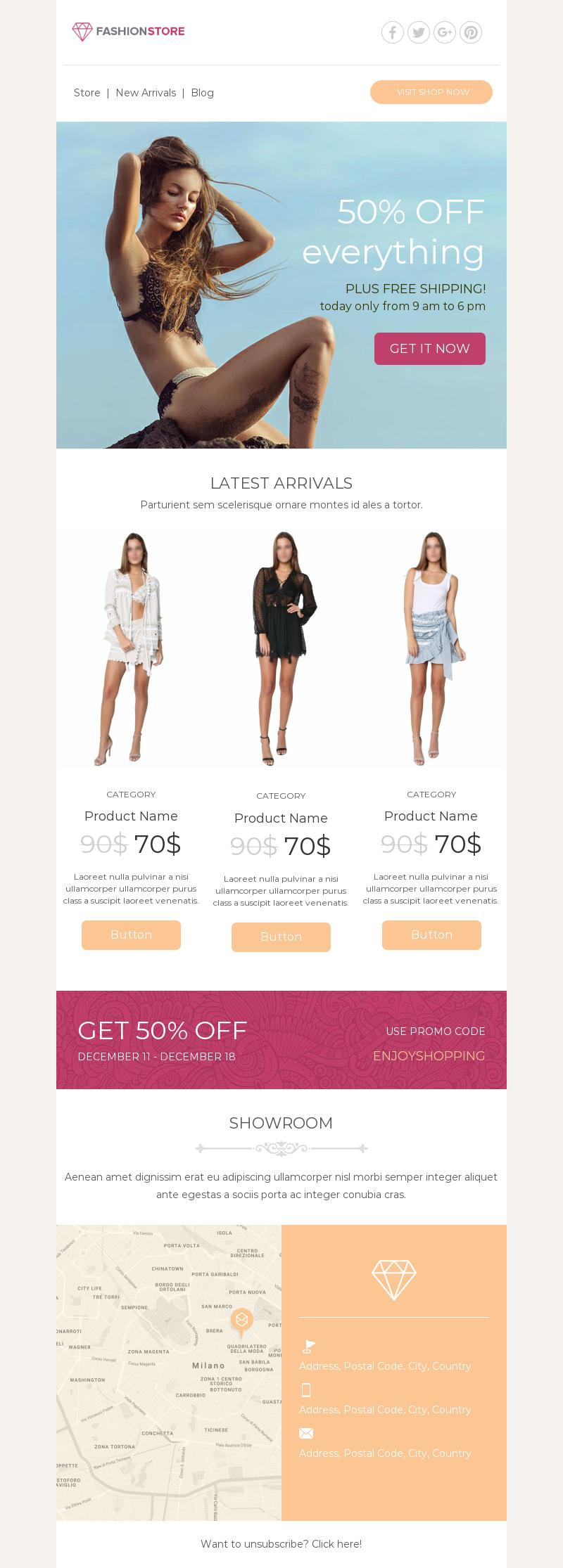 Online Fashion Store email template