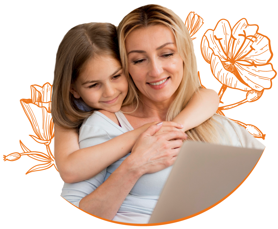 Image of mother and daughter looking at device screen