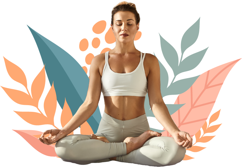 Woman with sports wear meditating
