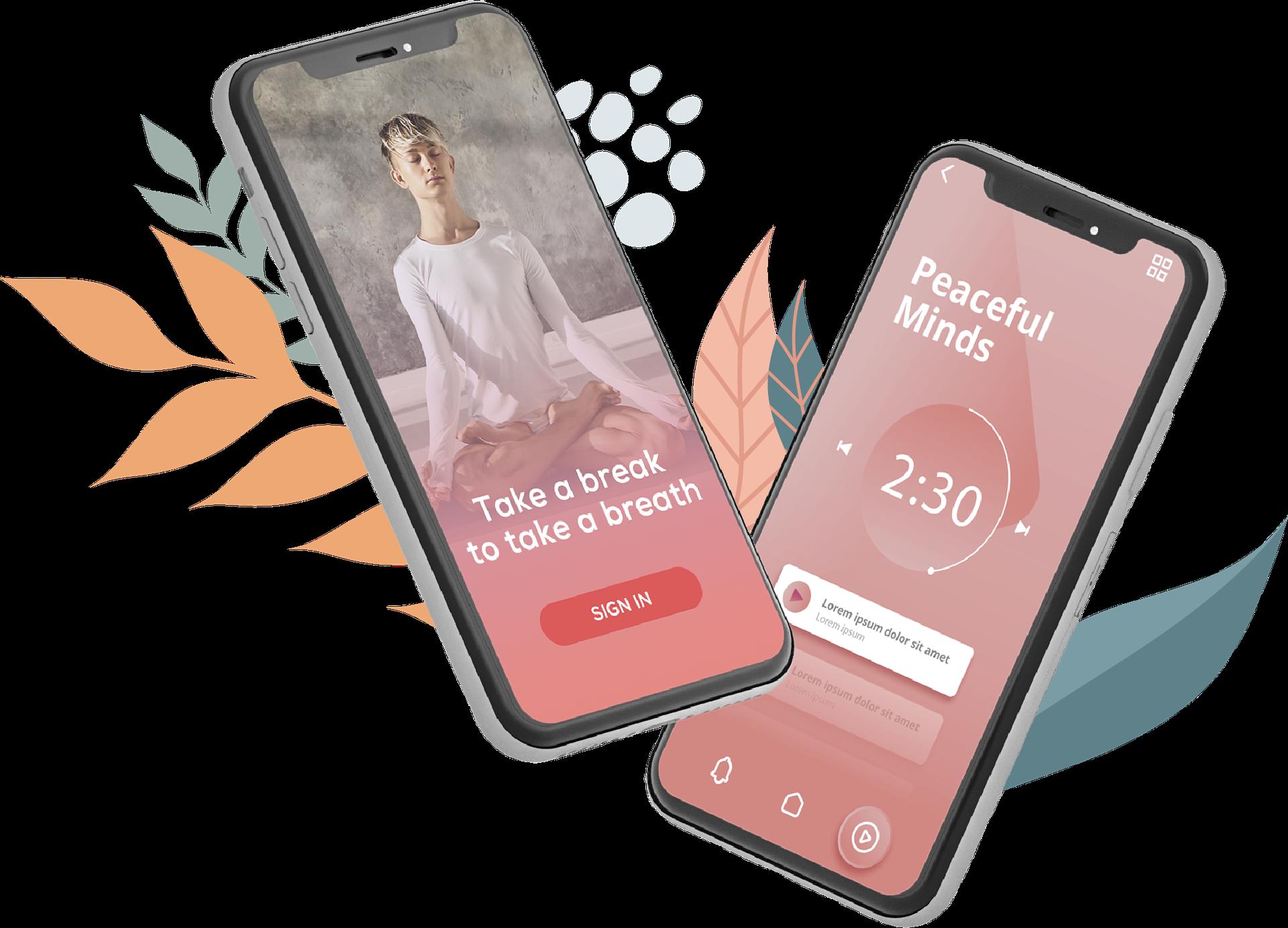Mobile mockup with meditation app on screen