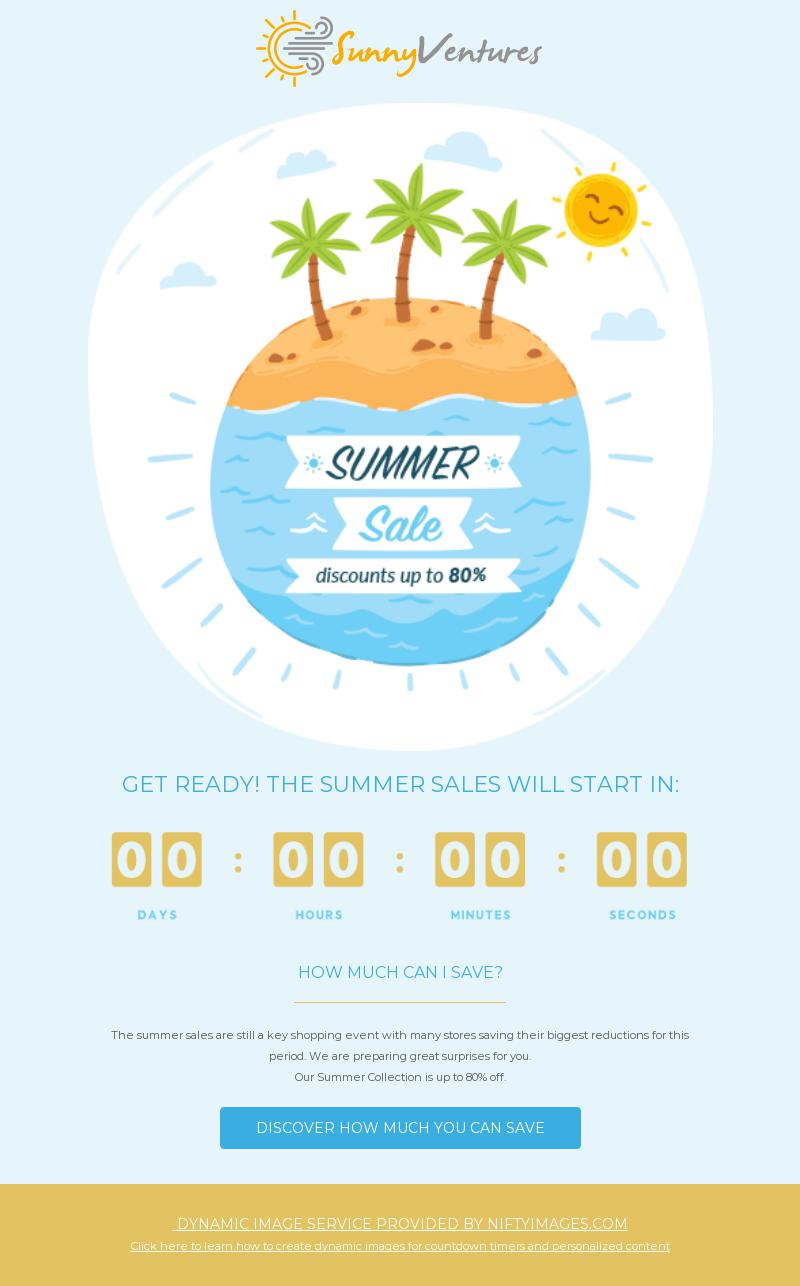 Summer Sale Countdown Seasonal Promotion Email Template For Travel