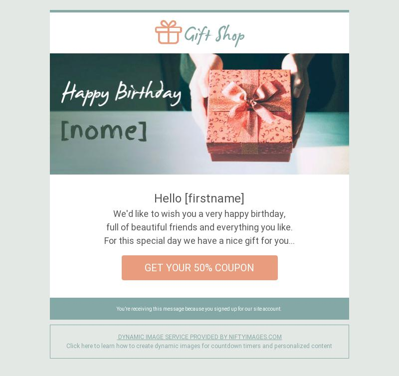 birthday greetings service promotion email template for travel