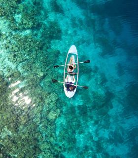 canoe and reef
