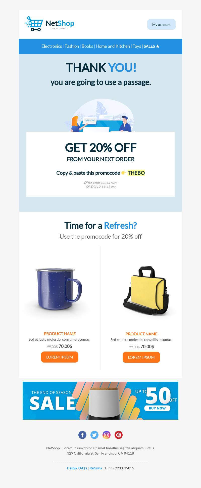 Promocode email template