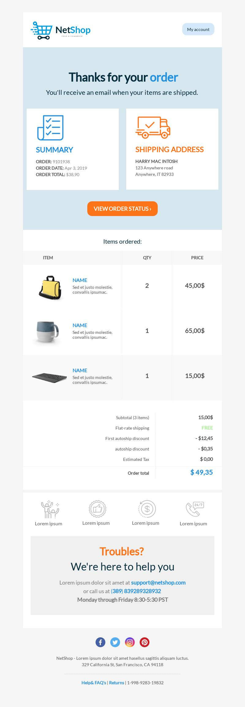 Order notification email template