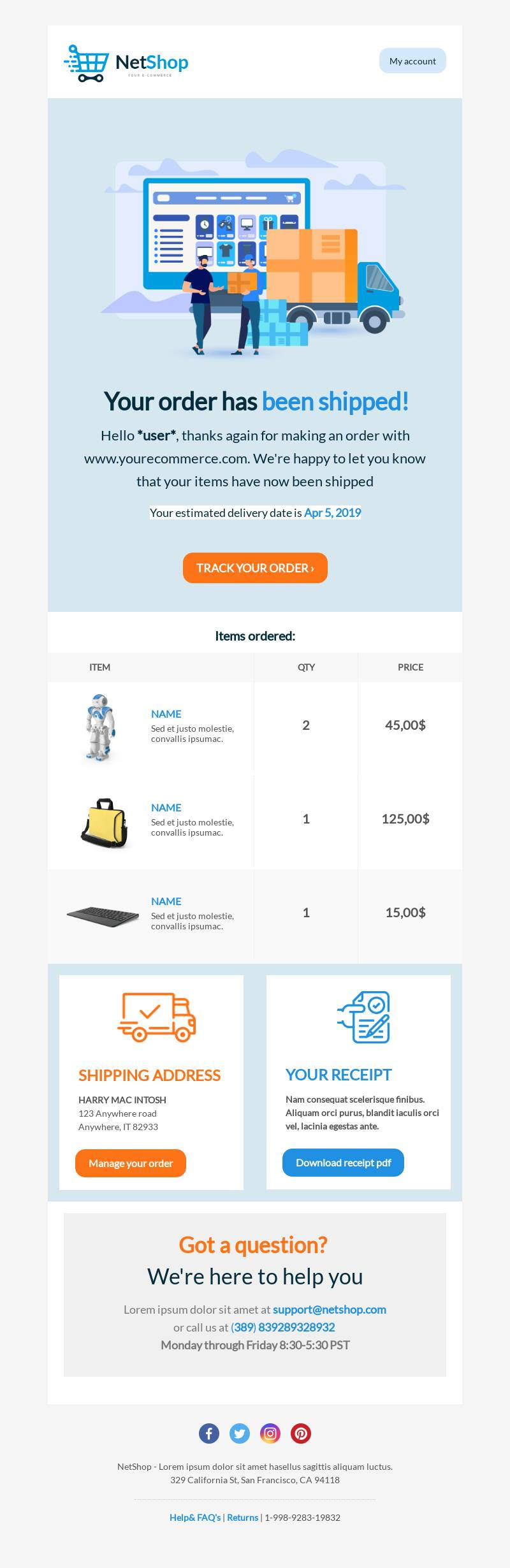 Shipping Confirmation email template