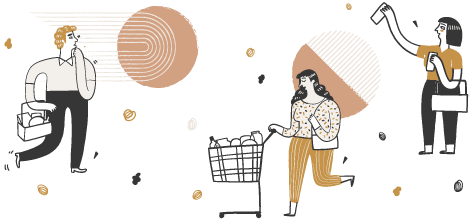 People Shopping Illustration