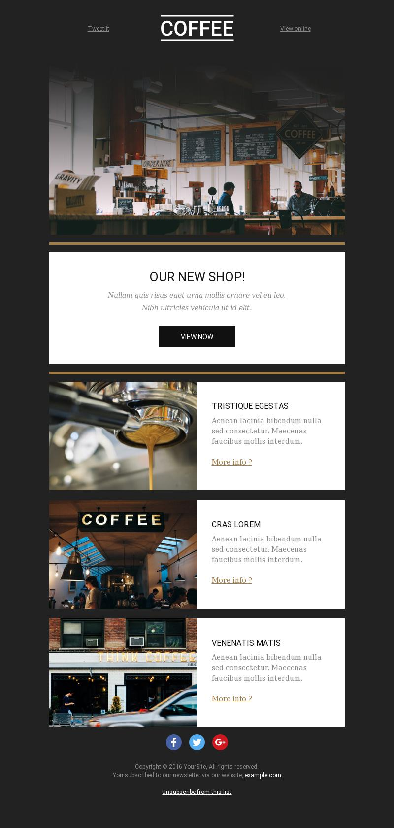 The Coffee Corner News email template