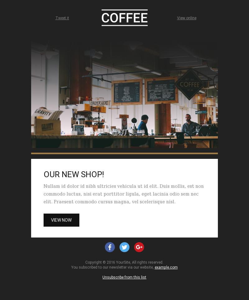 The Coffee Corner is Open | Service Promotion Email Template