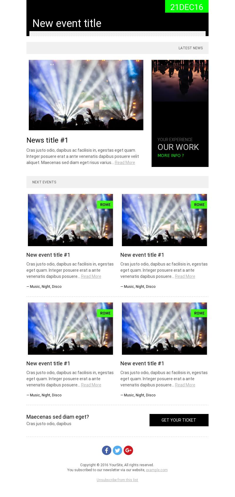 Green Events Next Events Email Template For Travel Leisure Bee