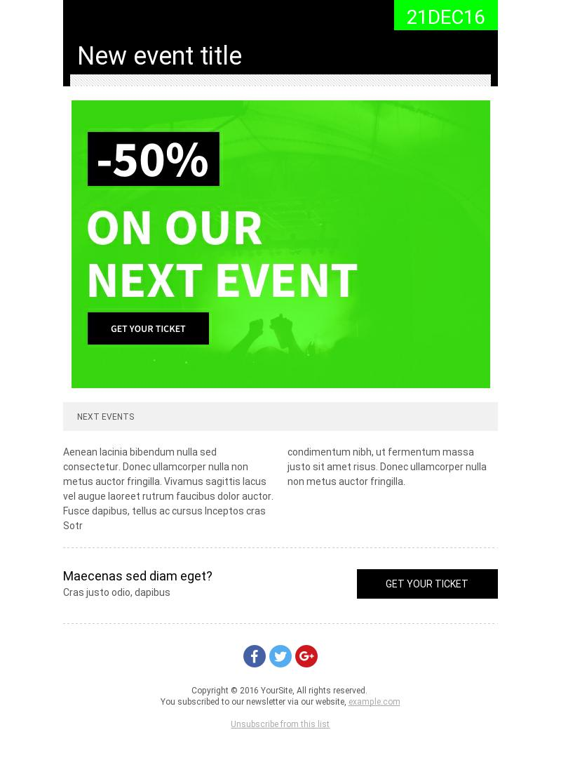 Green Events – Coupon email template