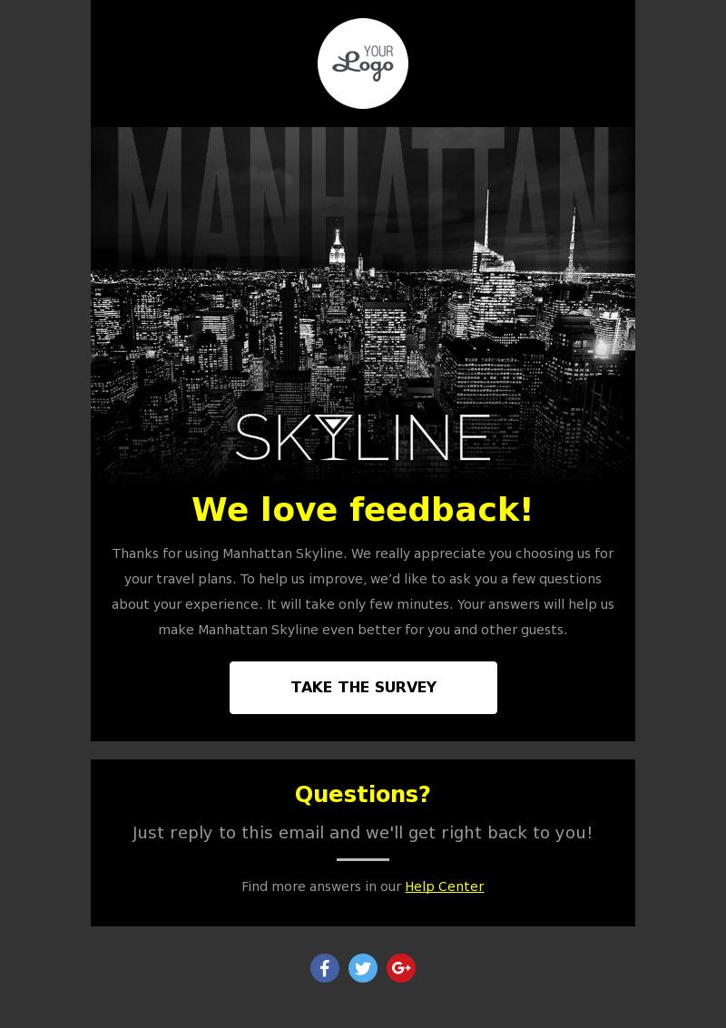 Travel Guide Survey email template