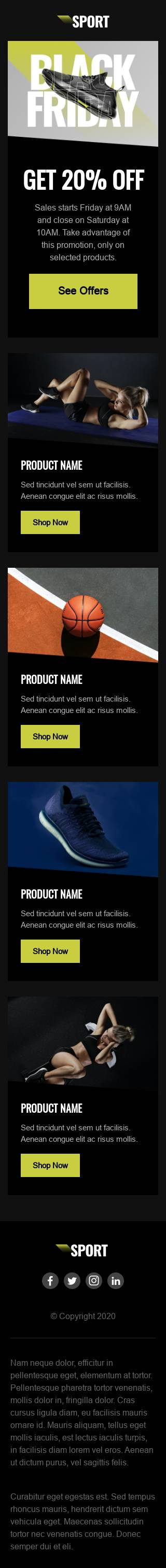 Sports E-Commerce Black Friday email template