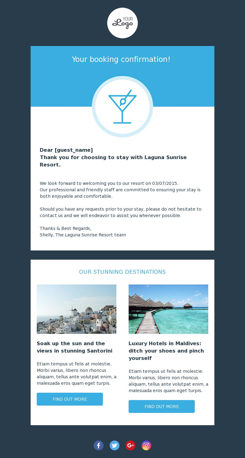 Booking Confirmation Transactional Email Template For Travel