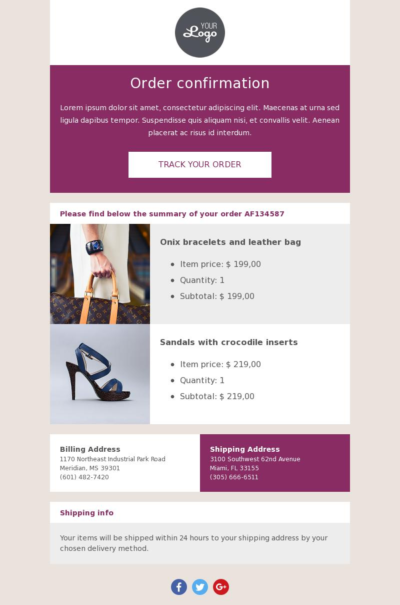 Track Your Order | Transactional Email Template for Fashion - BEE Free