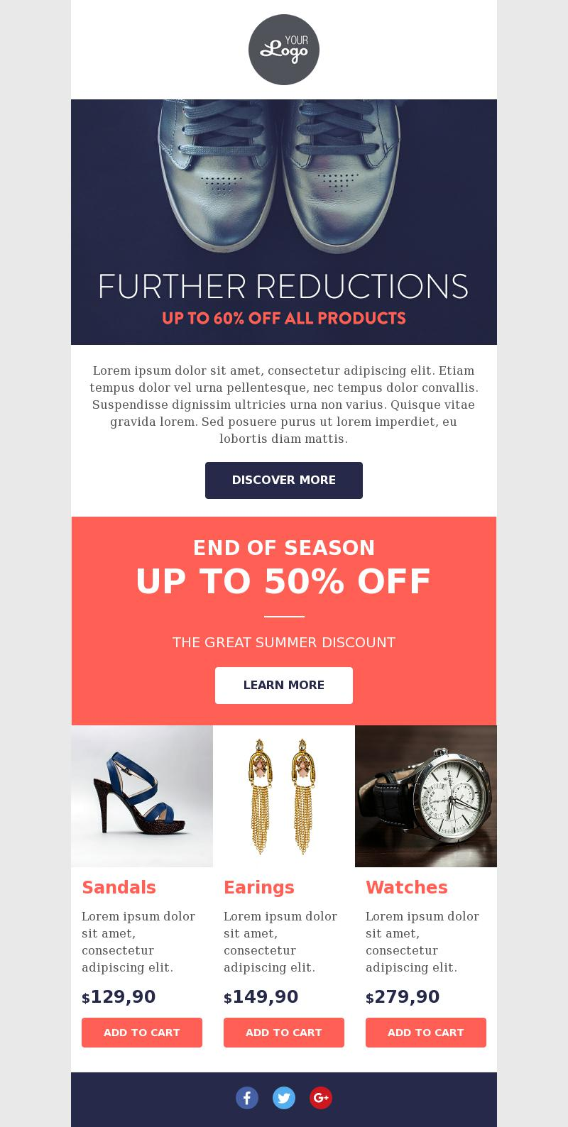 Ecommerce Product Promotion Email Template For Fashion Bee Free