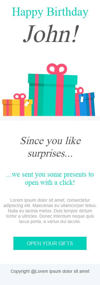 Popping Gifts email template