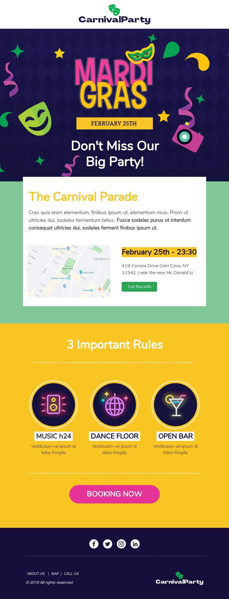 Mardi Gras Parade email template