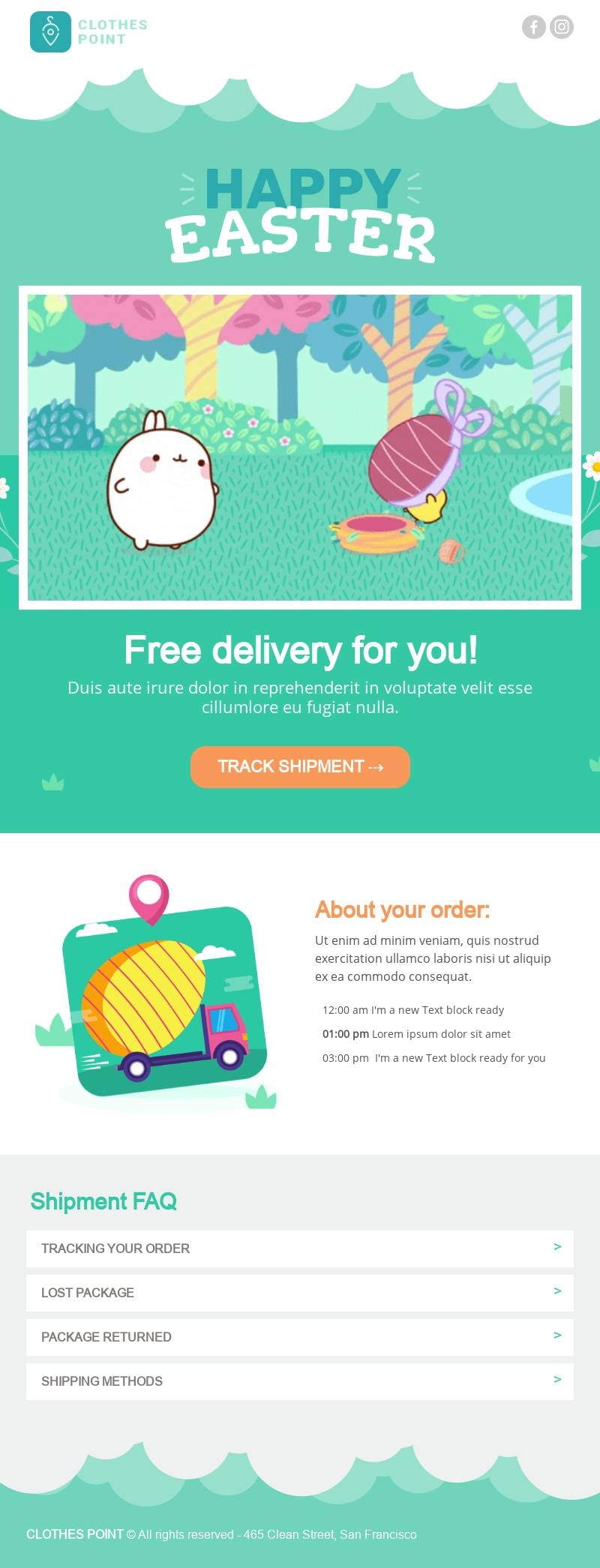 Animated Easter Free Delivery email template